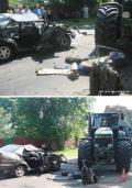 Трактор раздавил Passat. Один человек погиб
