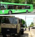 В Минске грузовик врезался в автобус