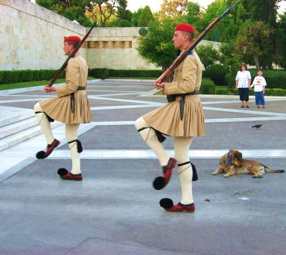Развод почетного караула у здания греческого парламента в Афинах