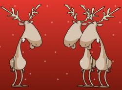 Новогодняя открытка. Про поющих оленей.