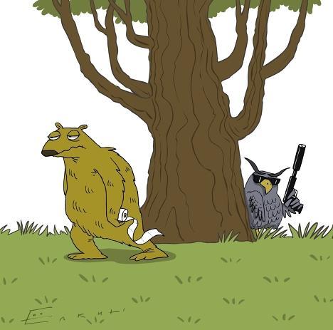 Ленивец пошел в туалет и его убила очковая сова