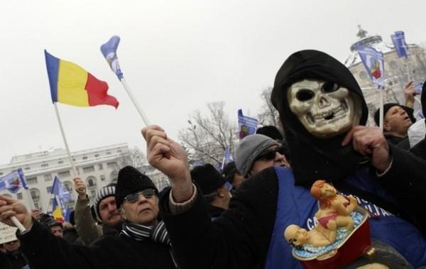Протест пенсионеров в Румынии