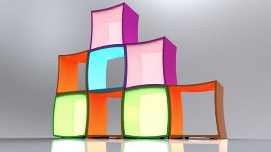 Разноцветные полки для детей.