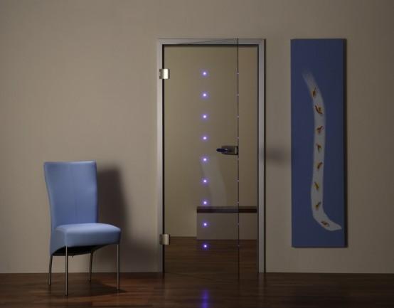 Стеклянная межкомнатная дверь со светом