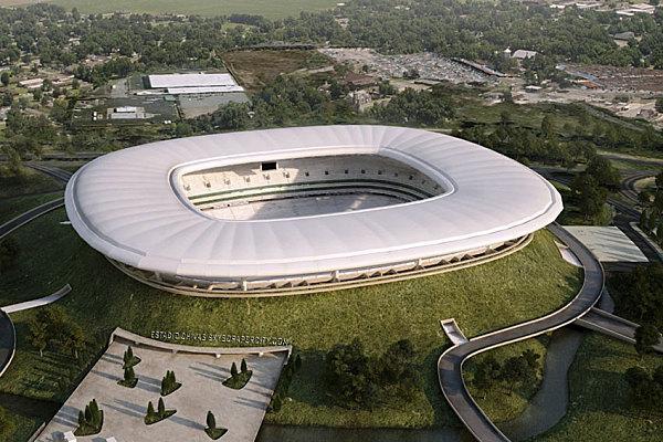 Стадион «Чивас» Где находится: Гвадалахара, Мексика Год постройки: 2009 Чем необычен: расположен в кратере потухшего вулкана. Вообразите себе крышу стадиона, похожую на облако, оседлавшее вершину горы. Остальная часть стадиона невидима — она «исчезла» в кратере. Стоимость проекта дизайнера Жан-Мари Массо оценивается в $100 млн. Площадь — 110 тыс. кв. м, вместимость — 42 250 человек. Помимо стадиона в комплекс входят также 2 магазина, 50 буфетов, ресторан, парикмахерская, музей, площадка для игр, рассчитанная на 450 детей, парковка на 750 машин, а также… скейтборд-парк!