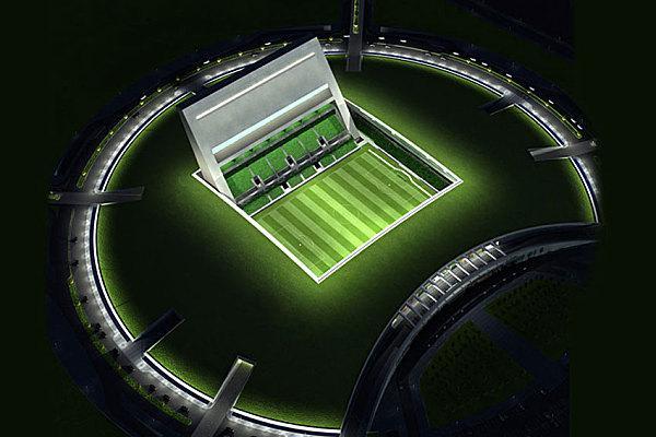The Wall («Стена») Где находится: Доха, Катар Год постройки: 2010 Чем необычен: первый в мире подземный стадион. Разработчик проекта — архитектурная фирма MZ & Partners Architects. Конструкция чем-то напоминает открытый ноутбук: главная трибуна стадиона уходит вертикально вверх. The Wall во многом отличается от привычных нам арен — и трибунами с полем, находящимся под землей, и отсутствием огромных традиционных прожекторов, которые заменит встроенная осветительная система. Решение построить стадион под землей продиктовано жарким климатом Катара: подземная конструкция позволит оснастить арену системой кондиционирования воздуха. Правда, есть и один минус — вместимость стадиона не превысит 11 тыс. зрителей