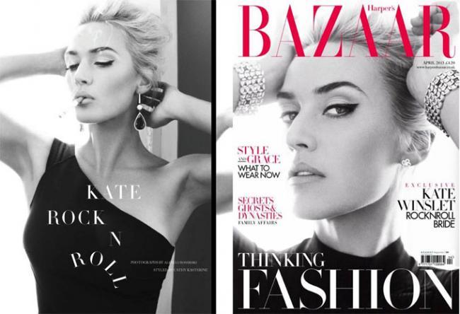 Кейт Уинслет снялась для обложки апрельского Harper\'s Bazaar UK