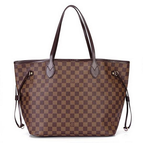 Женская сумка Louis Vuitton Neverfull MM, Damier Ebene Canvas (Луи Виттон Неверфул Дамьер Ибэн Канвас)