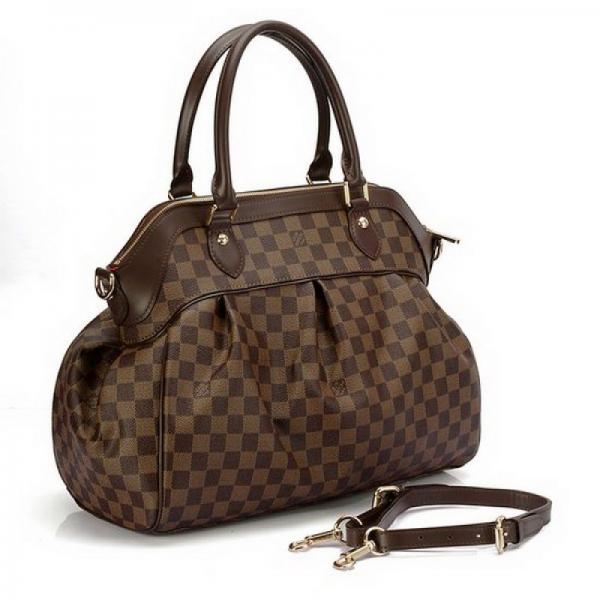 Женская сумка Louis Vuitton Trevi GM, Damier Ebene Canvas (Луи Виттон Треви Дамьер Эбен Канвас)